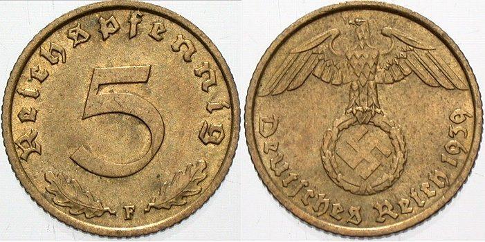 5 Reichspfennig 1939 F  Patina, fast Stempelglanz