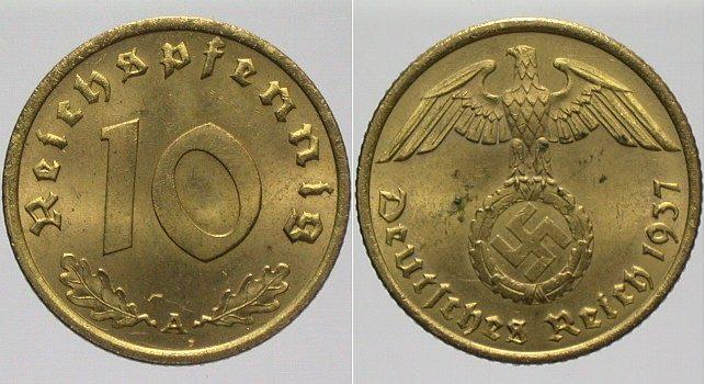 10 Reichspfennig 1937 A  Fast Stempelglanz