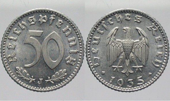 50 Reichspfennig 1935 J  Schöne Patina, fast Stempelglanz