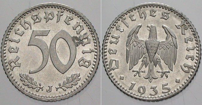 50 Reichspfennig 1935 J  Winz. Korrosionsstelle, sonst vorzüglich - Stempelglanz