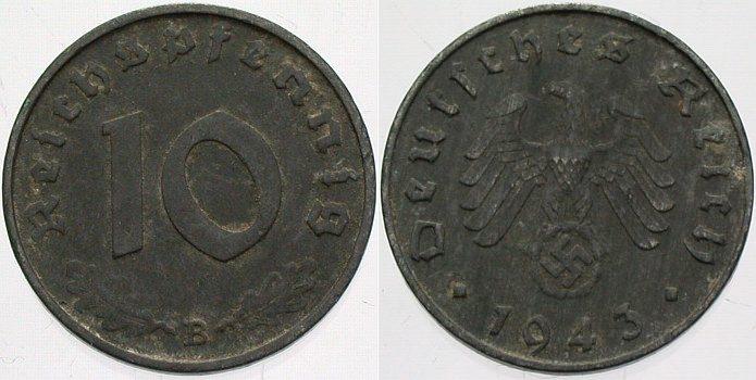 10 Reichspfennig 1943 B  sehr schön