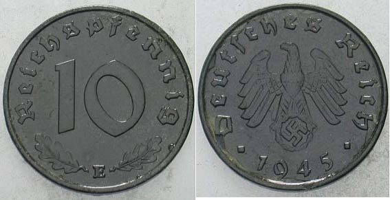 10 Reichspfennig 1945 E  Zaponiert, sehr schön