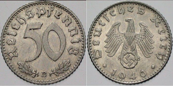 50 Reichspfennig 1940 B  Vorzüglich - Stempelglanz