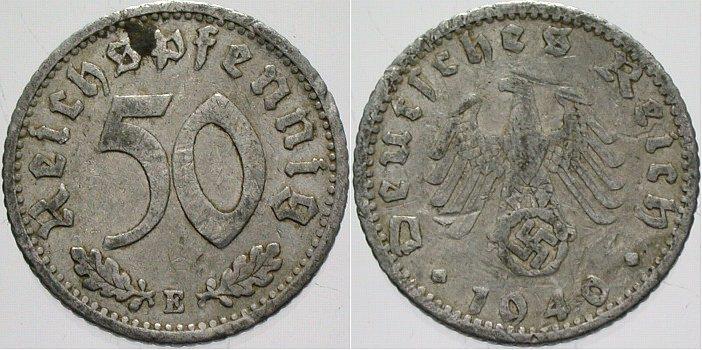 50 Reichspfennig 1940 E  sehr schön
