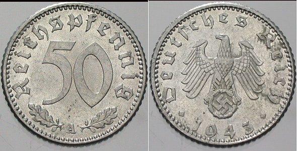 50 Reichspfennig 1943 A  Fast Stempelglanz