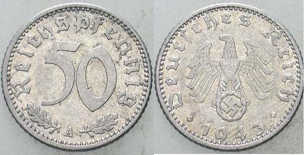 50 Reichspfennig 1943 A  Vorzüglich