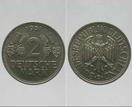 2 Mark 1951 D  Gutes vorzüglich