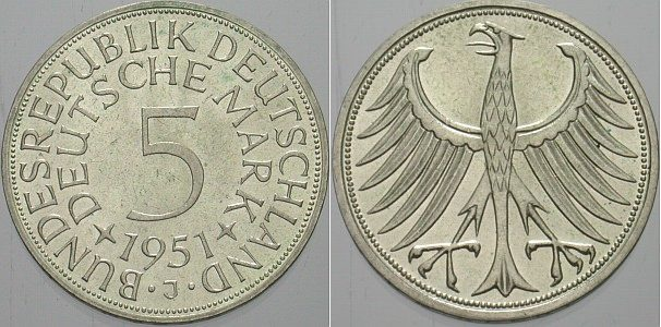 5 Dm 1951 J Fast Stempelglanz Ma Shops