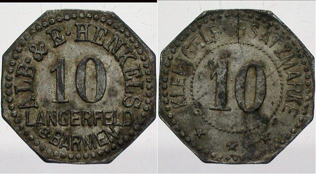 10 Pfennig o.J Langerfeld Sehr schön