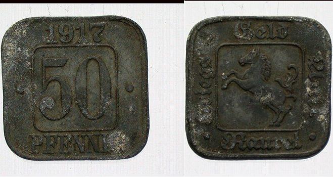 50 Pfennig 1917 Pferd, Kriegs-Geld Rauxel Sehr schön