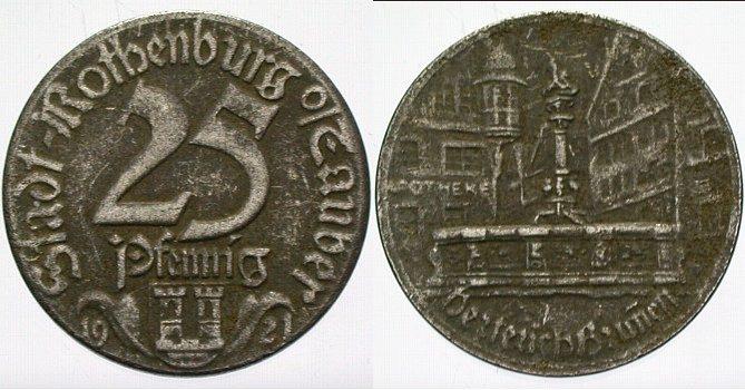 25 Pfennig 1921 Pfennig , darunter Rothenburg Sehr schön