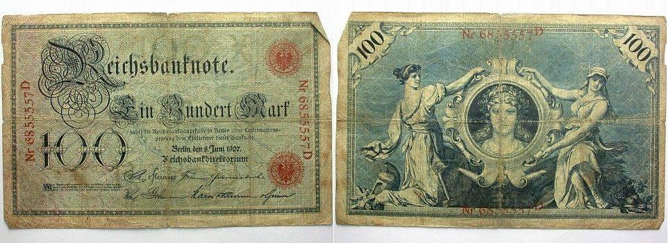 100 Mark 8.6.1907 Banknoten nach Rosenberg Stärker gebraucht