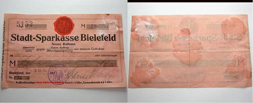 10 Mark 03 Bielefeld 002Stadt auf Stadtsparkasse Bielefeld 1914 Klebespuren auf der Rückseite. Gebraucht