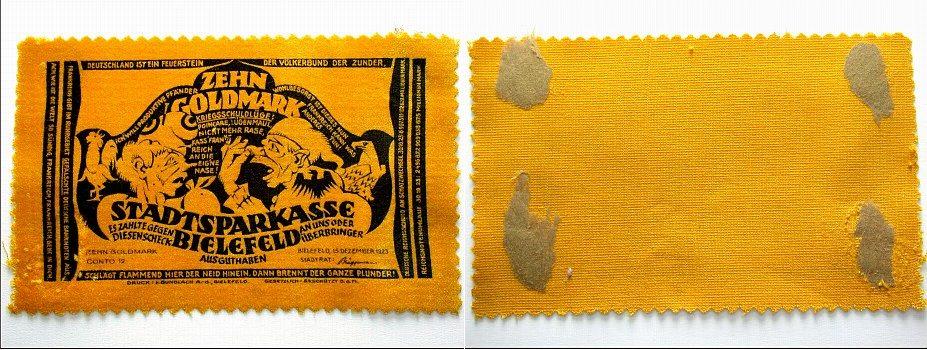 10 Goldmark 1923-12-15 Bielefeld Klebereste auf der Rückseite, sonst leicht gebraucht