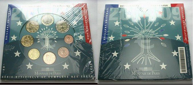 Kursmünzensatz 1 Cent-2 Euro 2009 Frankreich Stempelglanz