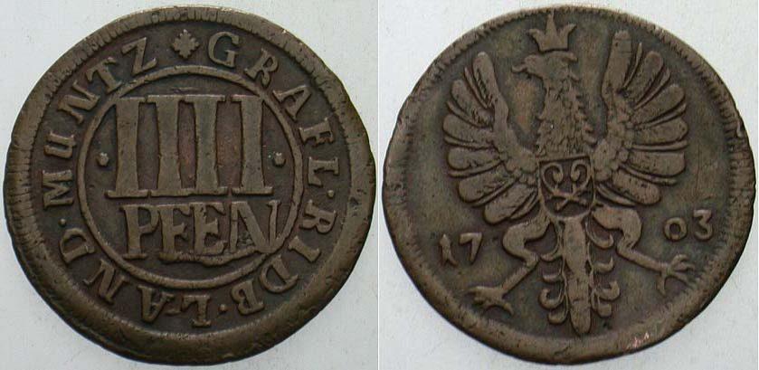 Cu 4 Pfennig 1703 Rietberg-Grafschaft Maximilian Ulrich 1699-1746 Kl. Randfehler, sehr schön