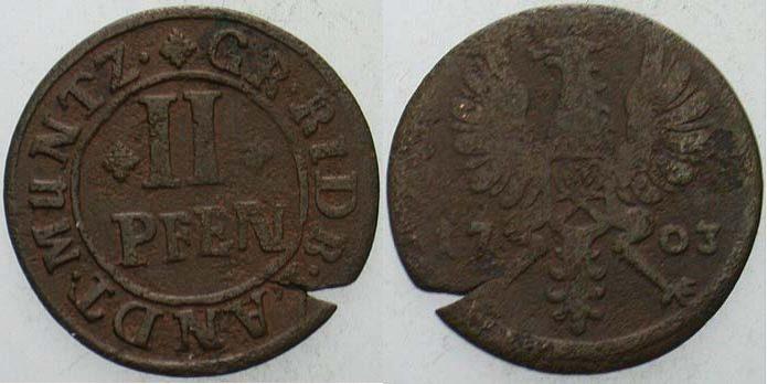 Cu 2 Pfennig 1703 Rietberg-Grafschaft Maximilian Ulrich 1699-1746 Randfehler, sehr schön