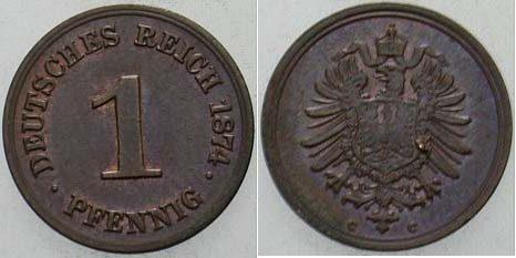 1 Pfennig 1874 C Kleinmünzen vorzüglich - Stempelglanz