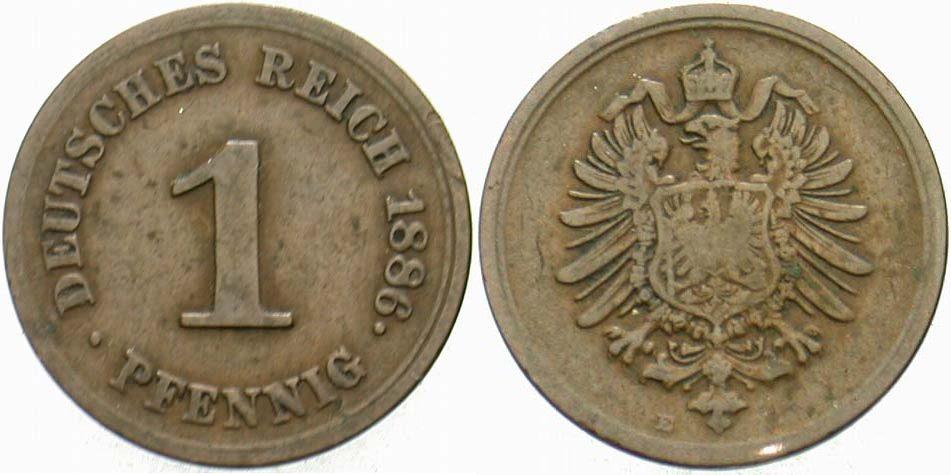 1 Pfennig 1886 E Kleinmünzen Schön - sehr schön