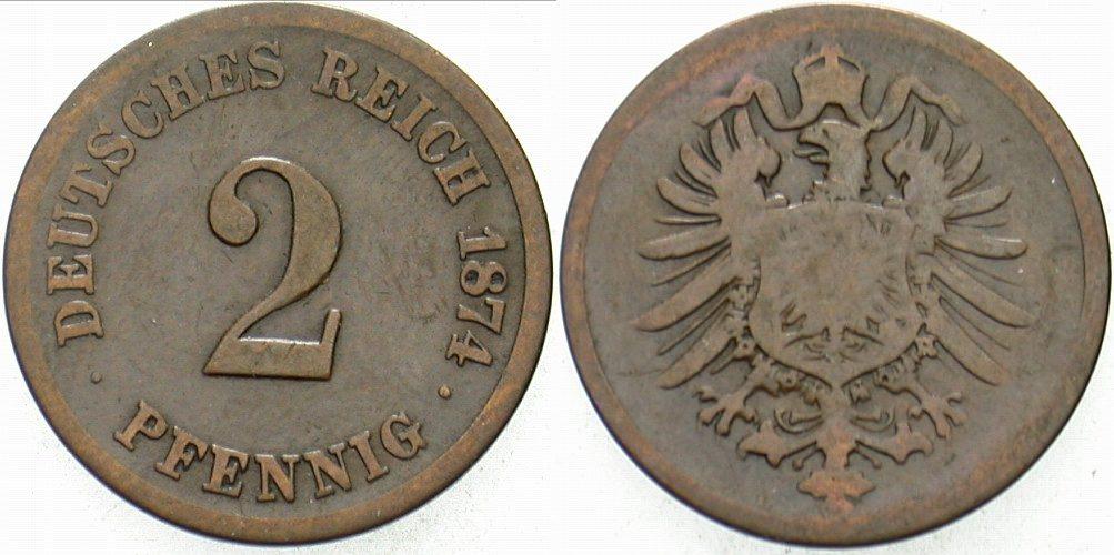 2 Pfennig 1874 G Kleinmünzen schön