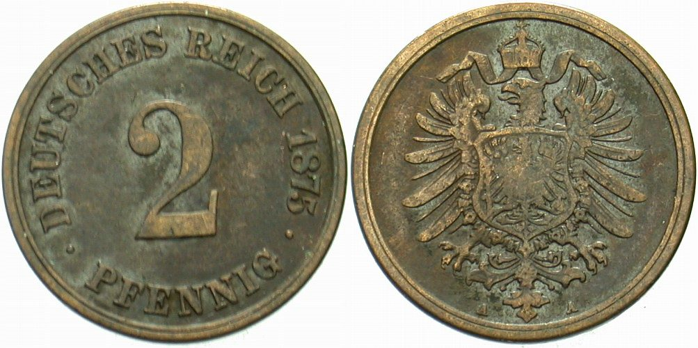 2 Pfennig 1875 A Kleinmünzen sehr schön