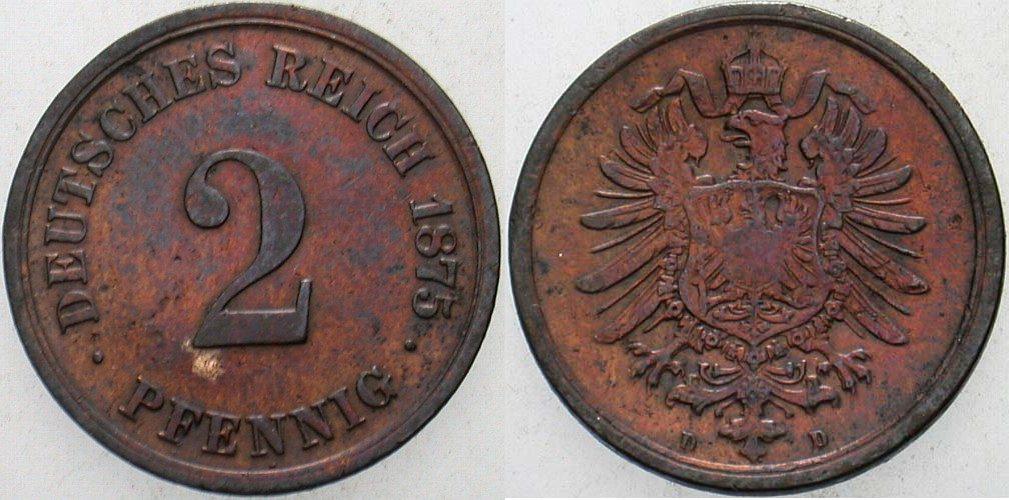 2 Pfennig 1875 D Kleinmünzen fast sehr schön