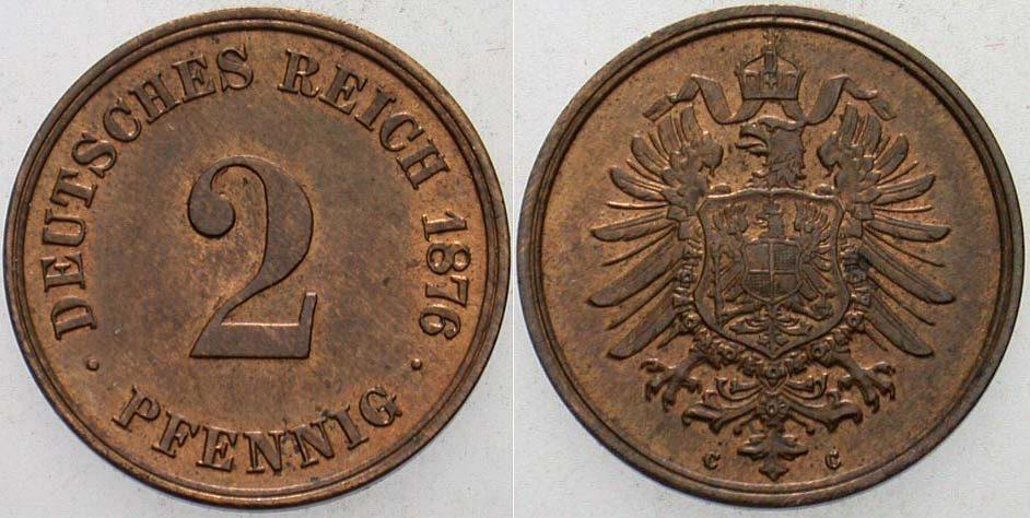 2 Pfennig 1876 C Kleinmünzen vorzüglich