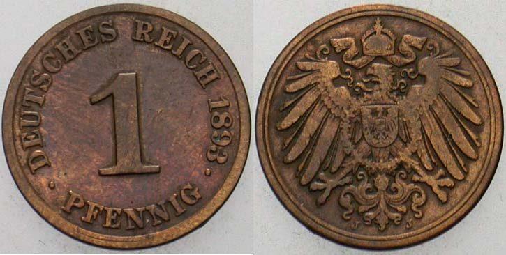 1 Pfennig 1893 J Kleinmünzen Fast sehr schön