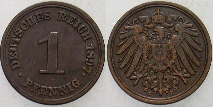 1 Pfennig 1897 E Kleinmünzen sehr schön - vorzüglich