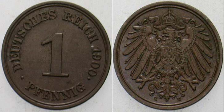 1 Pfennig 1900 E Kleinmünzen vorzüglich +