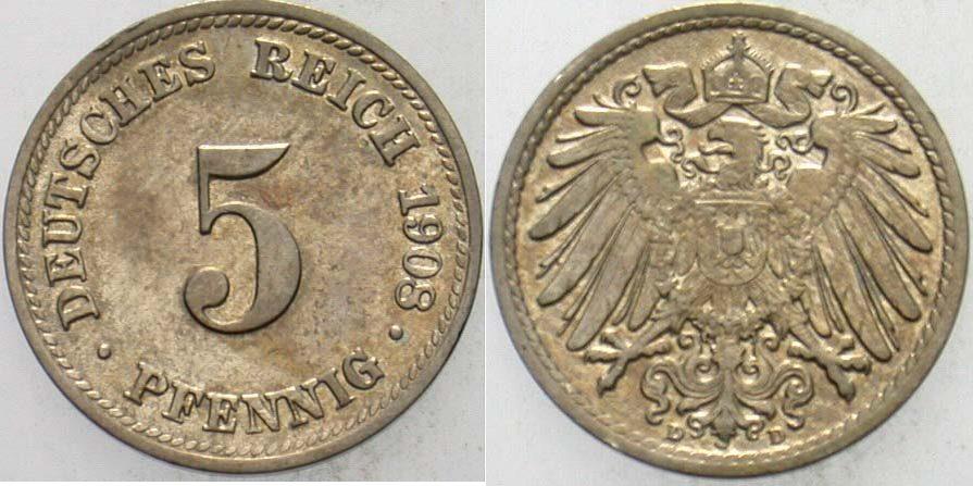 5 Pfennig 1908 D Kleinmünzen vorzüglich +