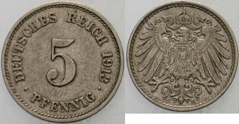 5 Pfennig 1913 G Kleinmünzen sehr schön - vorzüglich