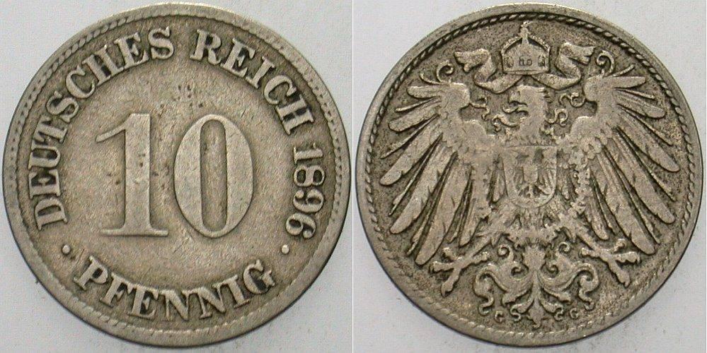 10 Pfennig 1896 G Kleinmünzen fast sehr schön