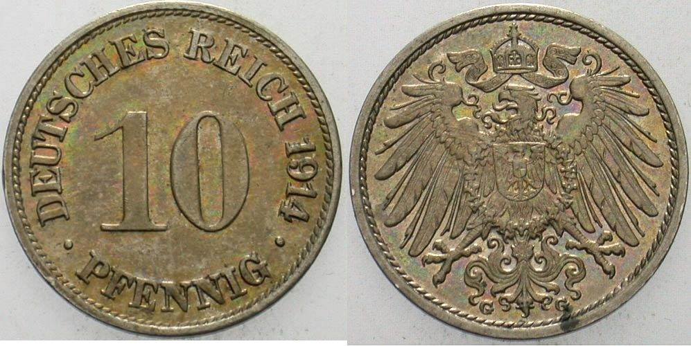 10 Pfennig 1914 G Kleinmünzen vorzüglich - Stempelglanz