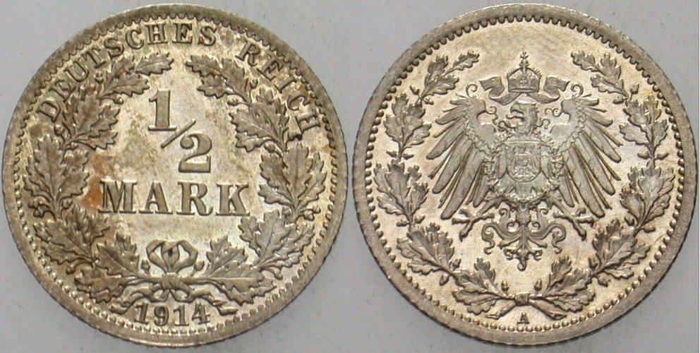 1/2 Mark 1914 A Kleinmünzen fast Stempelglanz