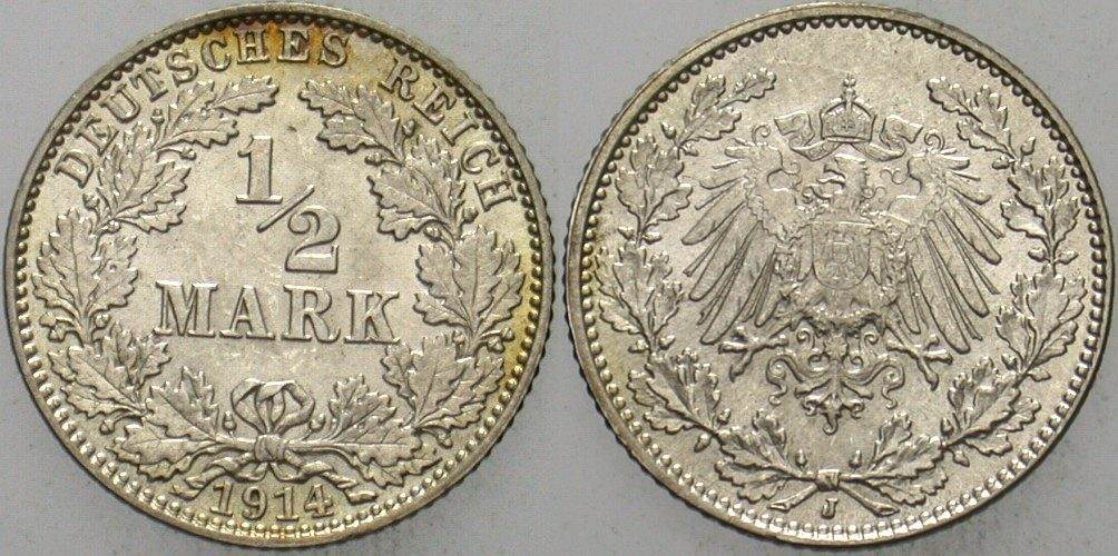 1/2 Mark 1914 J Kleinmünzen fast Stempelglanz