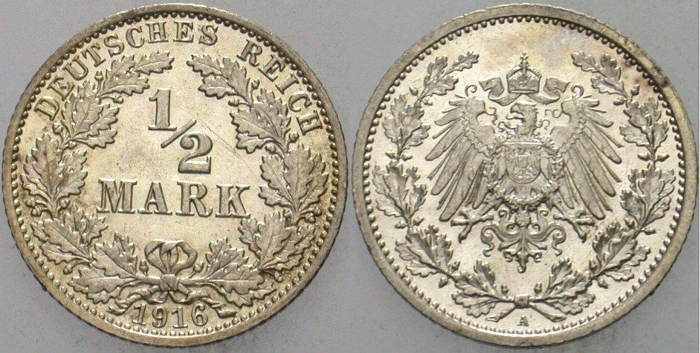1/2 Mark 1916 A Kleinmünzen vorzüglich - Stempelglanz