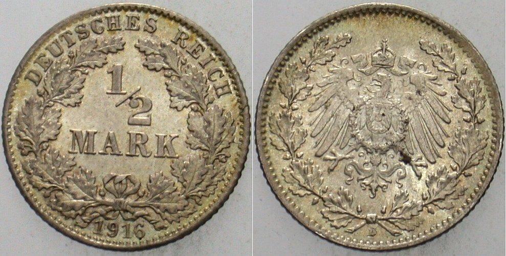 1/2 Mark 1916 D Kleinmünzen fast Stempelglanz