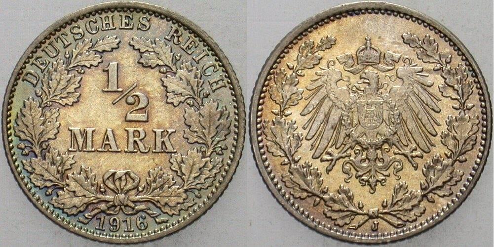 1/2 Mark 1916 J Kleinmünzen Stempelglanz