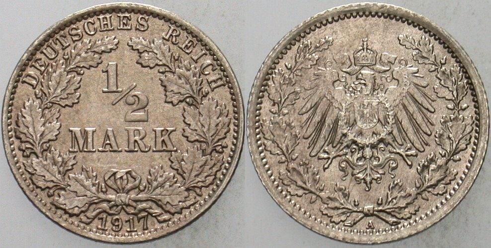 1/2 Mark 1917 A Kleinmünzen fast Stempelglanz
