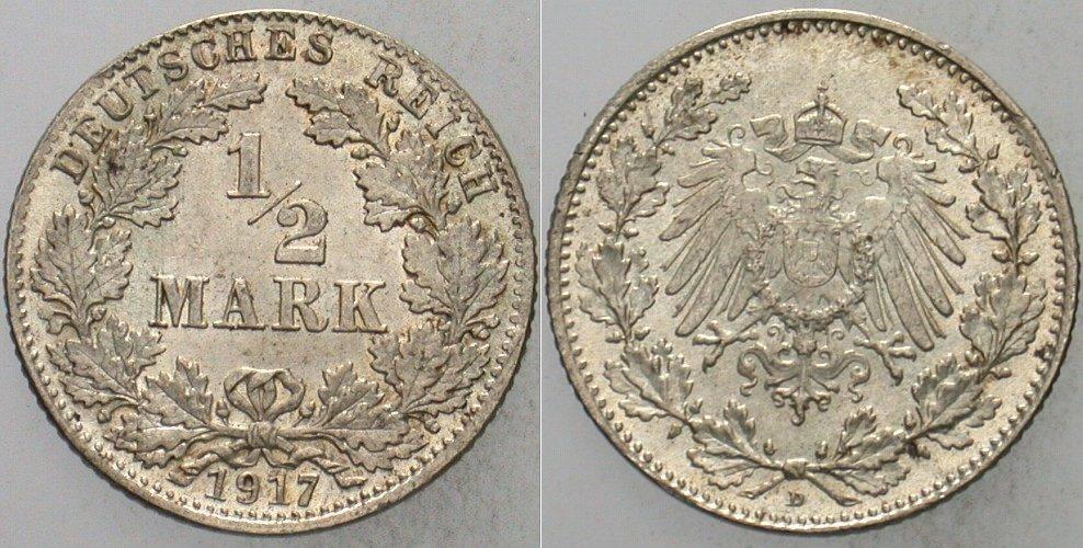 1/2 Mark 1917 D Kleinmünzen fast Stempelglanz