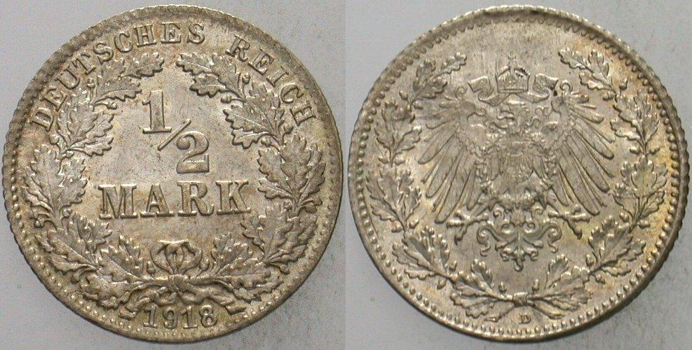 1/2 Mark 1918 D Kleinmünzen fast Stempelglanz