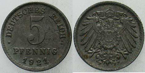 5 Pfennig 1921 F  fast Stempelglanz