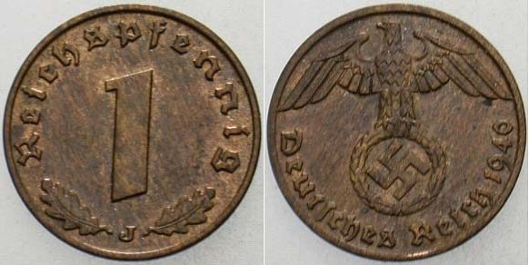 1 Reichspfennig 1940 J  fast Stempelglanz