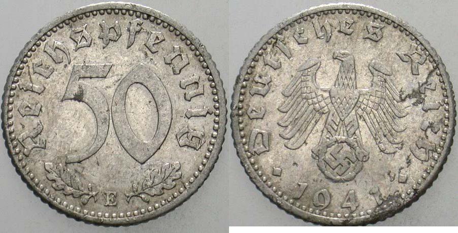 50 Reichspfennig 1941 E  sehr schön - vorzüglich