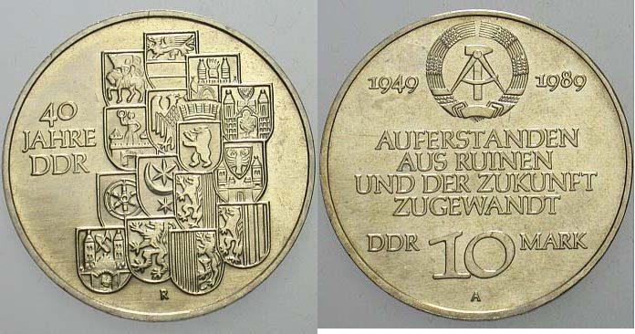 10 Mark 1989  Vorzüglich - Stempelglanz
