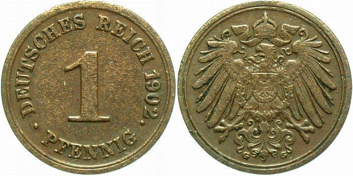 1 Pfennig 1902 G Kleinmünzen Sehr schön