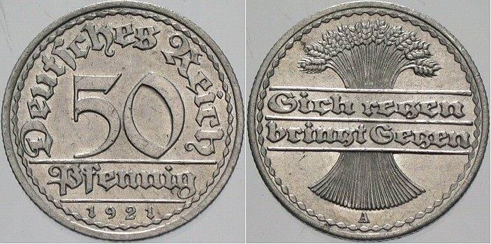 50 Pfennig 1921 A Vorzüglich Stempelglanz Ma Shops