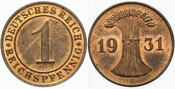 1 Reichspfennig 1931 D  Vorzüglich - Stempelglanz
