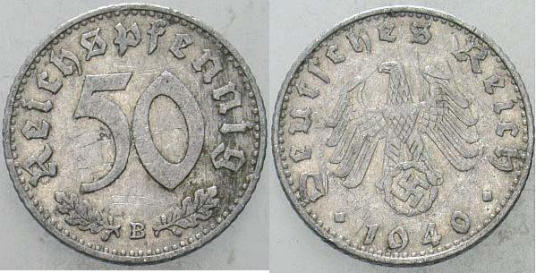 50 Reichspfennig 1940 B  Sehr schön